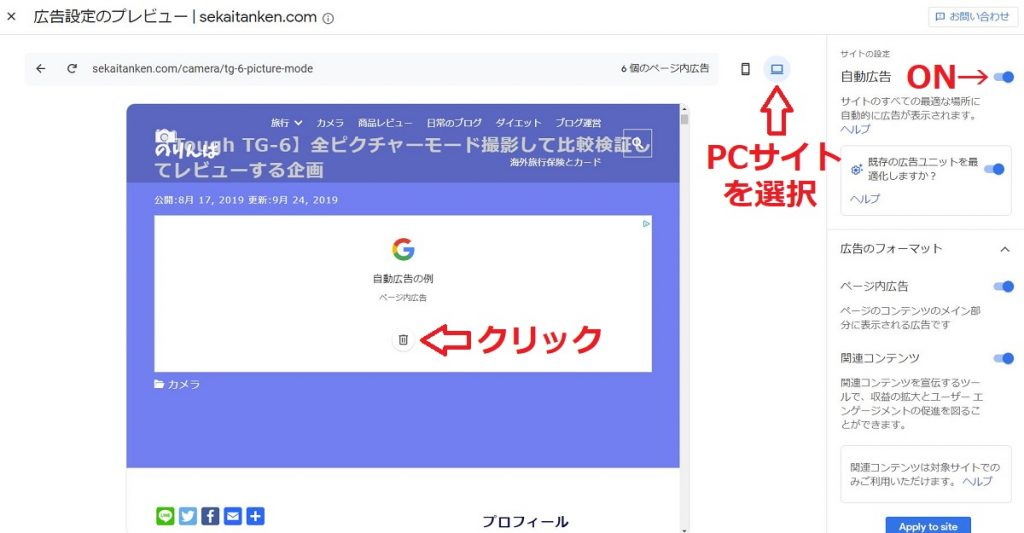 Googleアドセンスの設定画面
